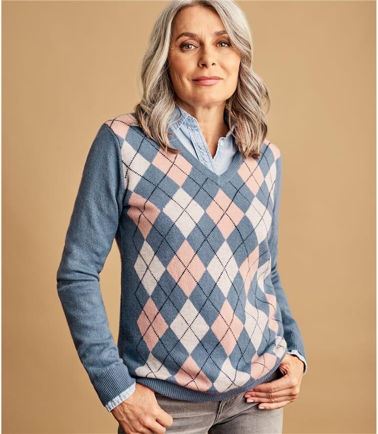 Pullover mit V-Ausschnitt und Argyle-Muster aus Merino- und Kaschmirwolle für Damen