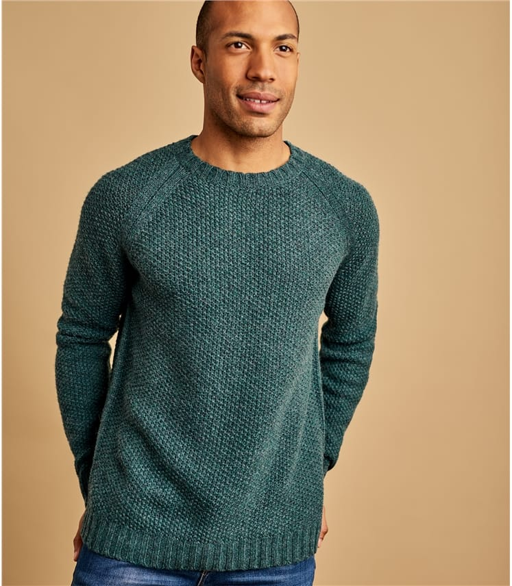 Mens Lambswool Moss Stitch Jumper