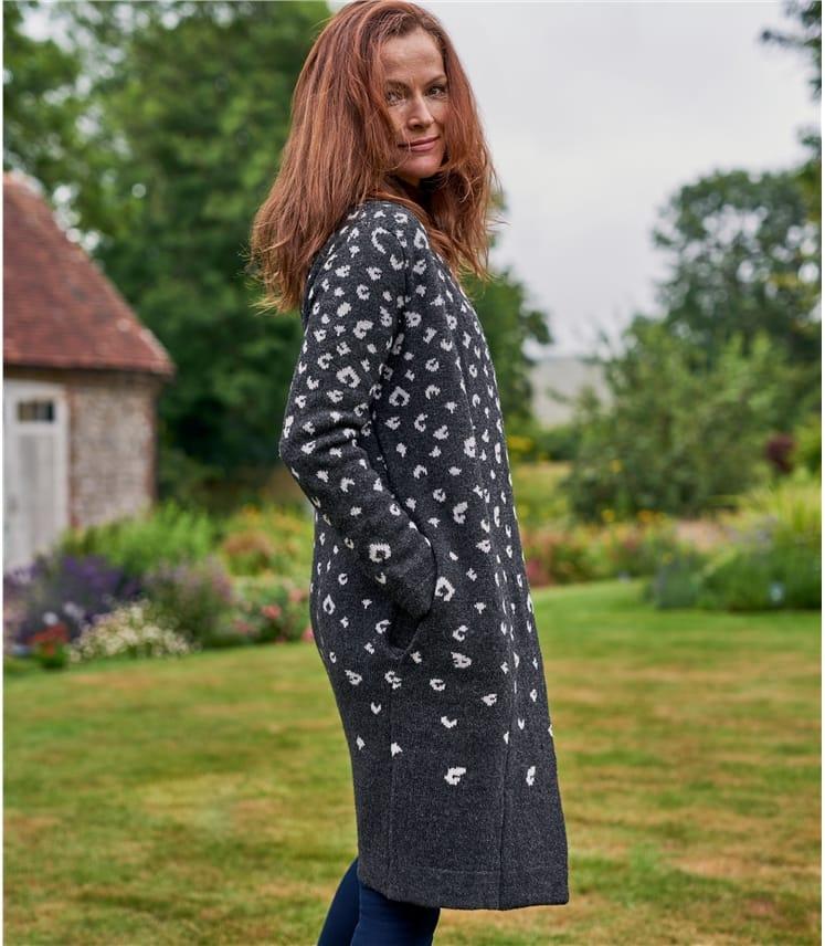Womens 100% Lambswool Faded Leopard Print Coatigan