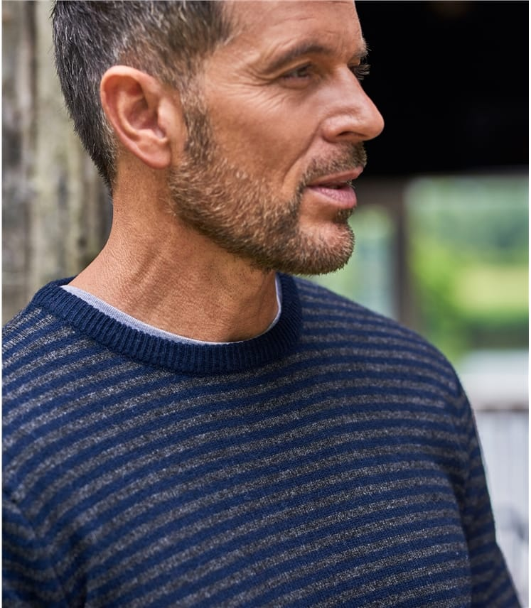 Mens Lambswool Tipped Stripe Sweater