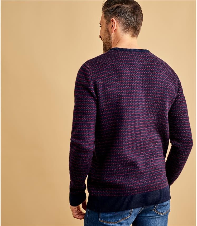 Mens Lambswool Geo Stitch Sweater