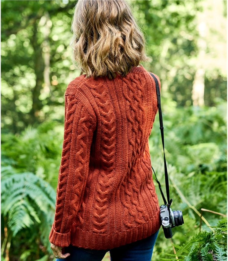 Womens Pure Wool Aran Sweater
