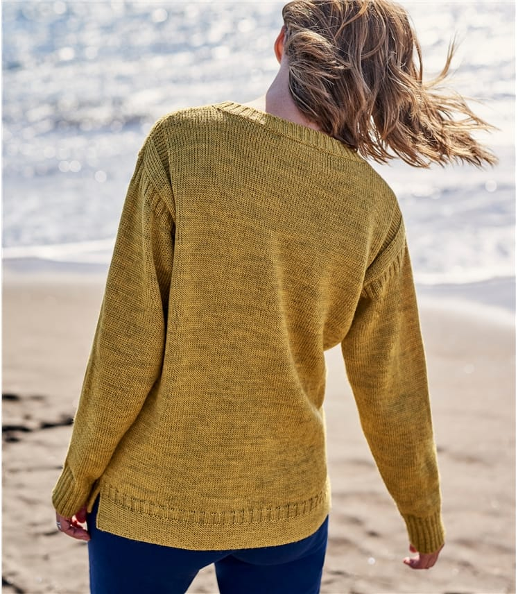 Womens Pure Wool Guernsey Sweater