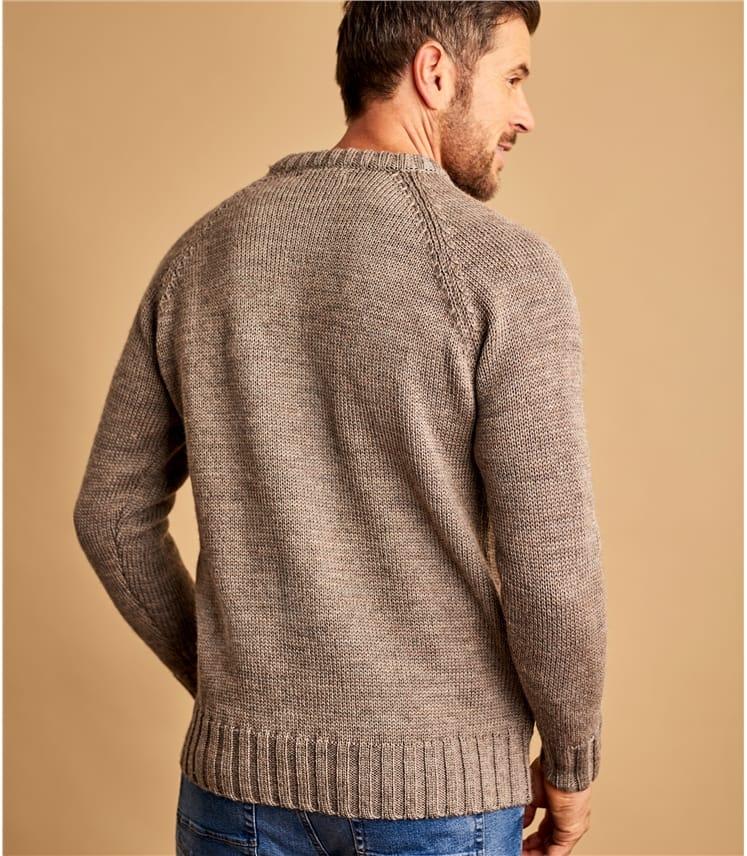 Mens Pure Wool Fishermans Crew Neck Sweater