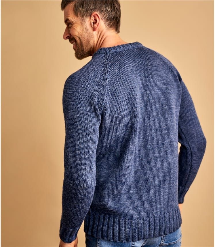 Mens Pure Wool Fishermans Crew Neck Sweater