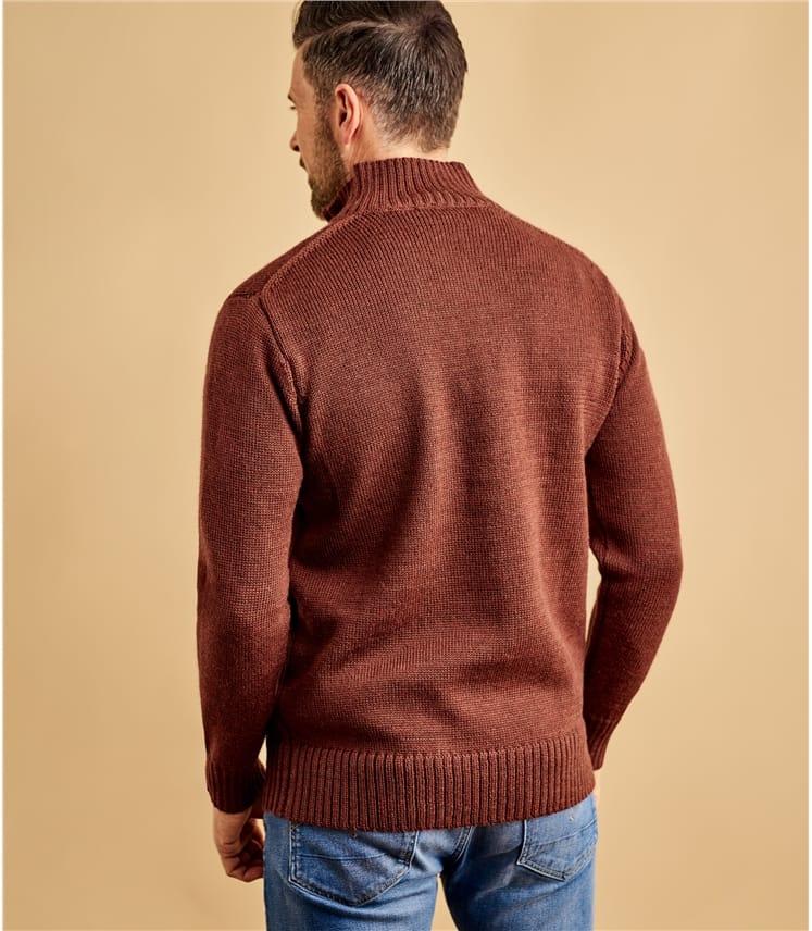 Country-Pullover mit kurzem Reißverschluss aus reiner Wolle für Herren