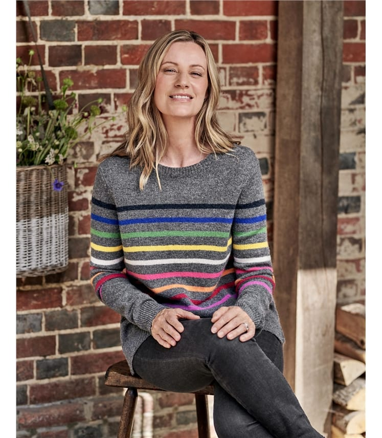 Pullover aus Merino-Lammwolle mit Streifen für Damen