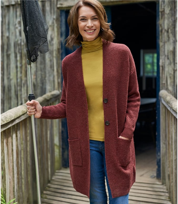 Womens Lambswool Long Button Cardi