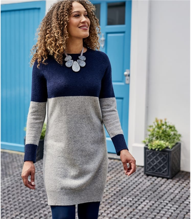 Womens 100% Lambswool Colour Block Dress