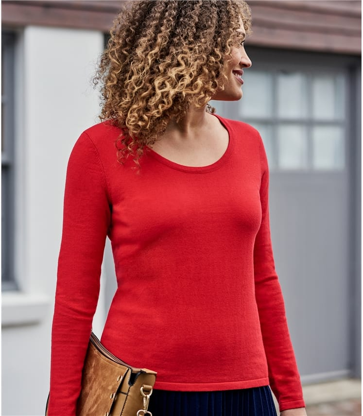 Womens Wool Blend Long Sleeve Scoop Neck