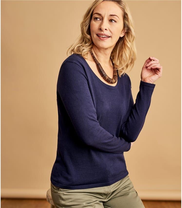 Womens Wool Blend Long Sleeve Scoop Neck