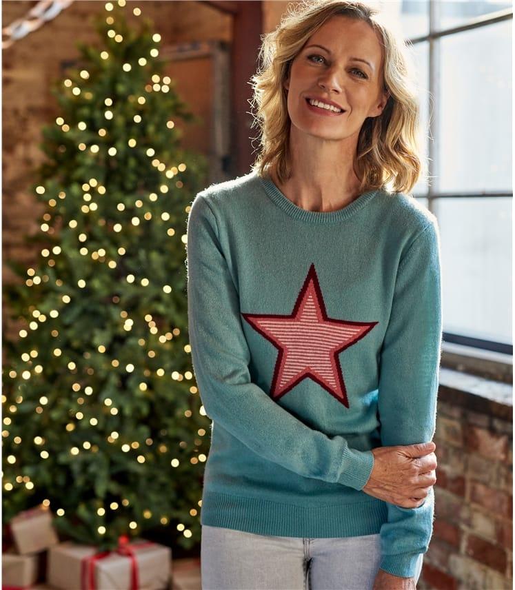 Womens Cashmere Merino Star Sweater