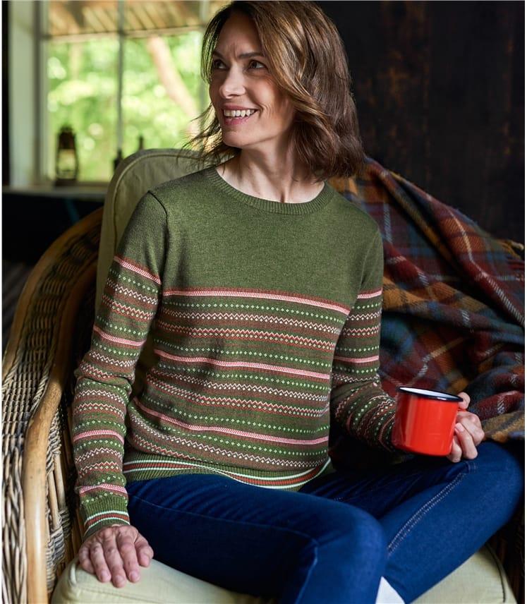 Womens Wool Blend Fairisle Jumper