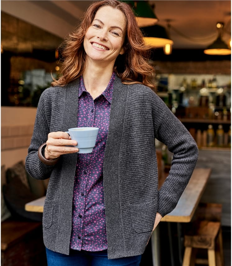 Womens Cashmere Merino Ribbed Cardigan