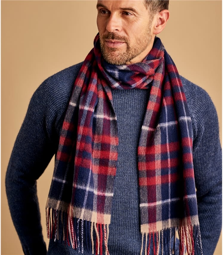 Mens 100% Merino Checked Scarf