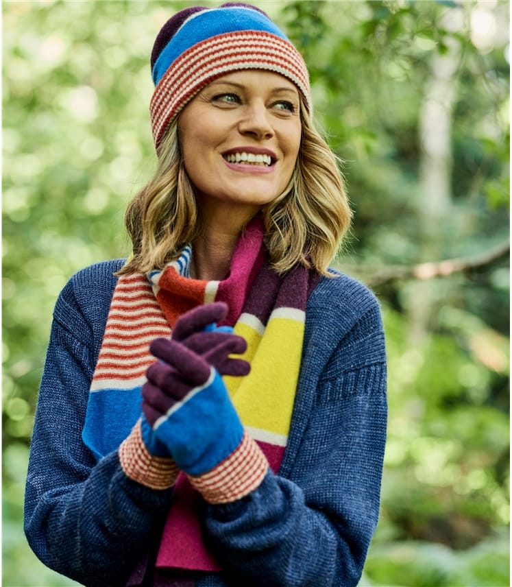 Lambswool Colourblock Stripe Glove
