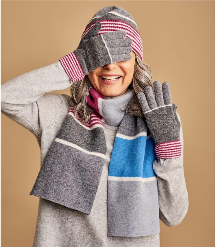 Gants à rayures colourblock - Femme - Laine d'Agneau