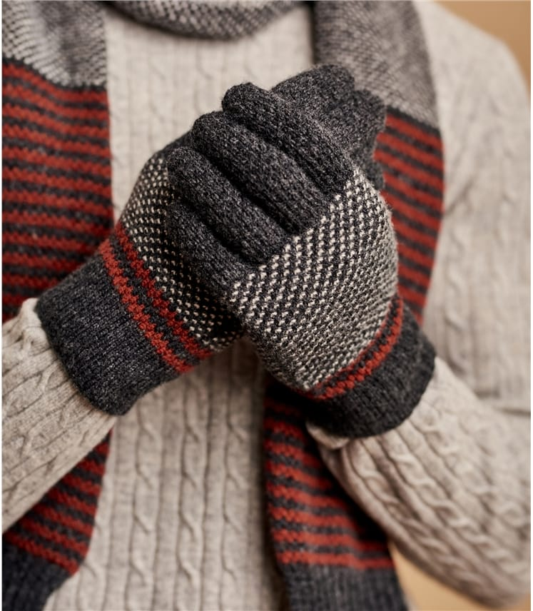 Mens Lambswool Stitch and Stripe Glove