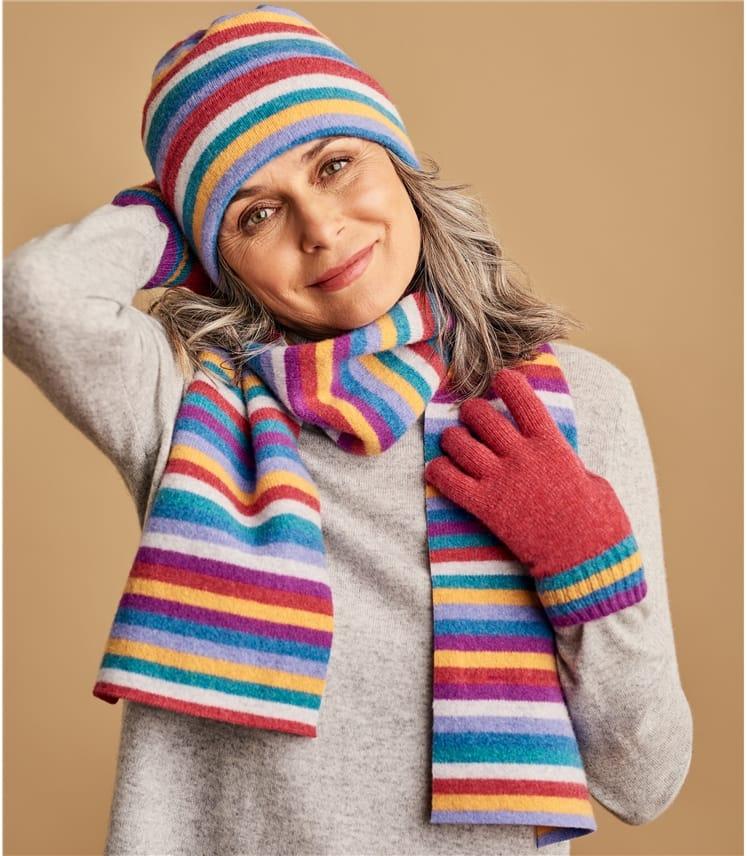 Lambswool Regular Rainbow Stripe Hat