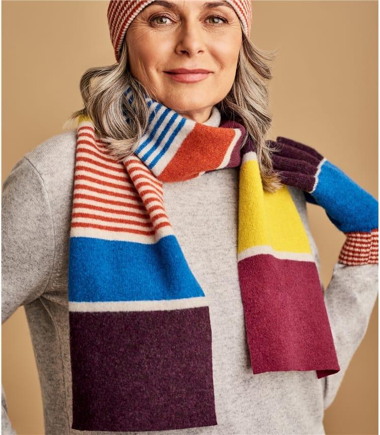 Lambswool Colourblock Stripe Scarf