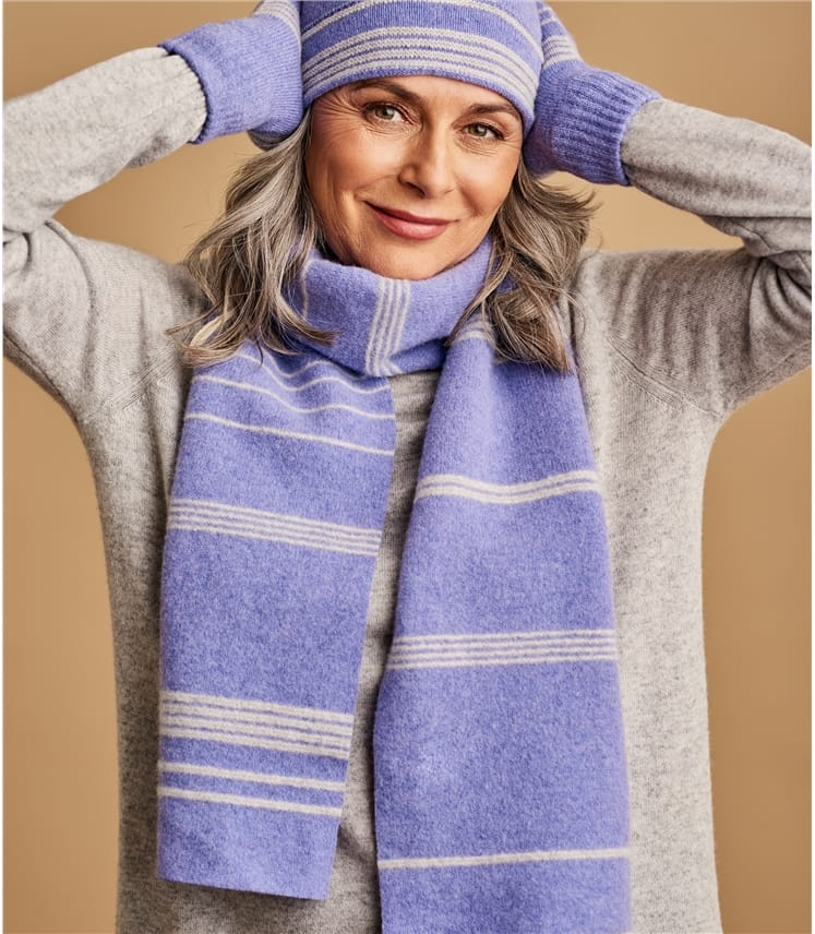 Womens Lambswool Two Color Stripe Scarf