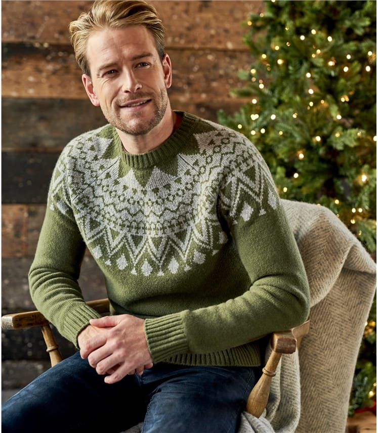 Mens Lambswool Fairisle Raglan Sweater