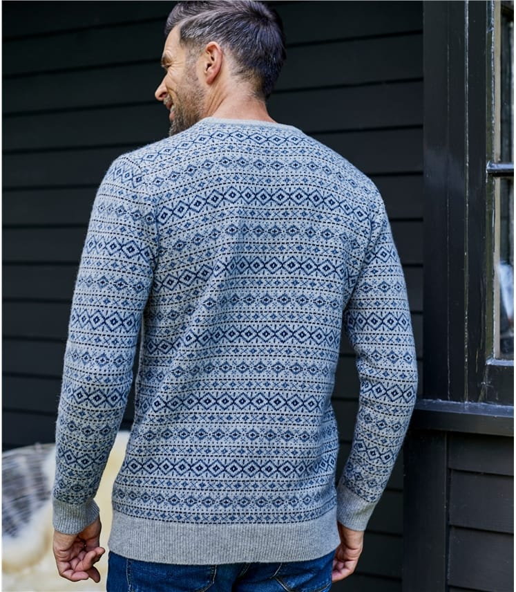 Mens Lambswool All Over Fairisle Jumper