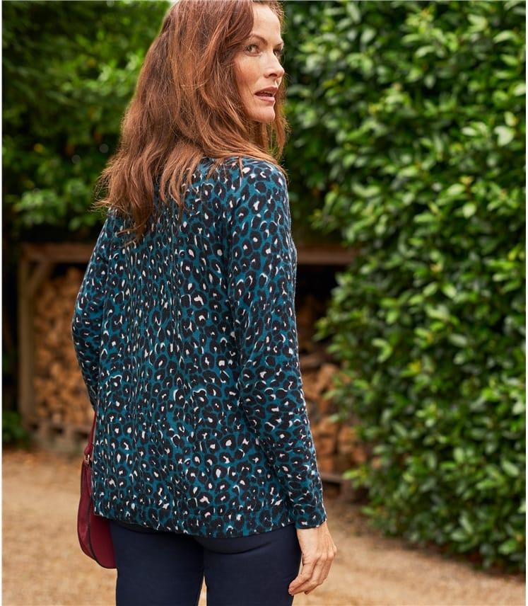 Womens Cotton Blend Leopard Print Curved Hem Jumper