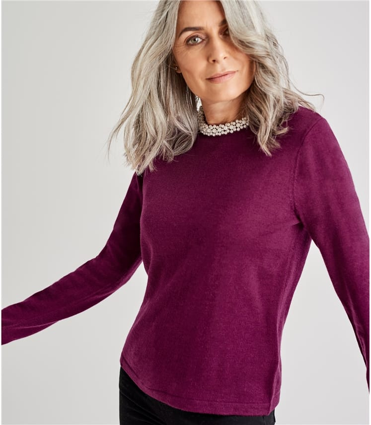 Womens Merino Pearl Neck Jumper