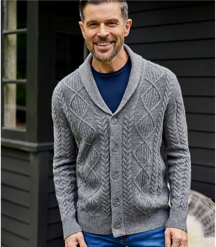 Mens Lambswool Shawl Collar Cable Cardi