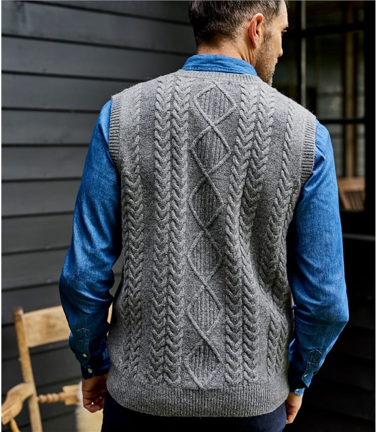 Mens Lambswool Cable Vest
