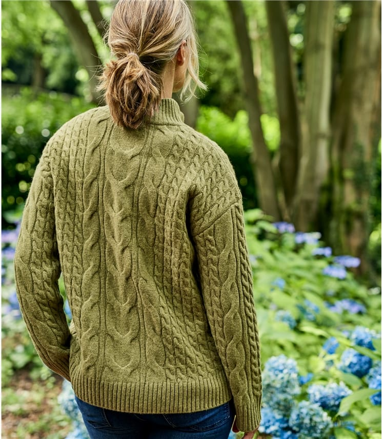 Womens Merino Cable Zip Jumper