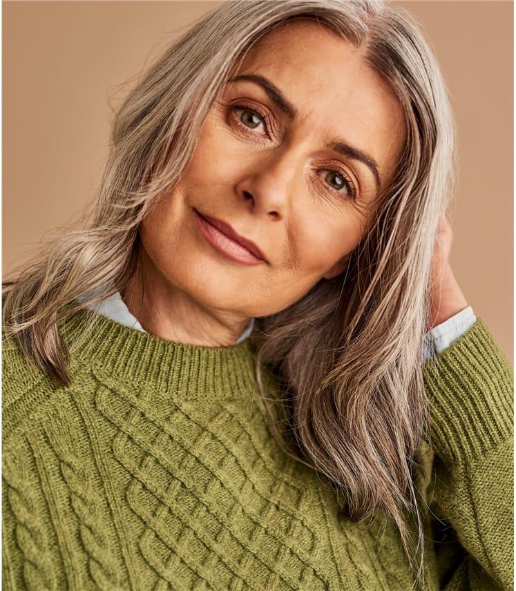 Womens Merino Modern Cable Sweater