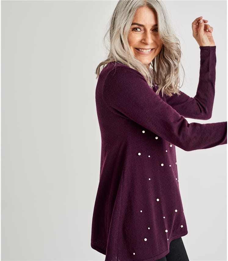 Womens Pearl Front Trapeze Jumper