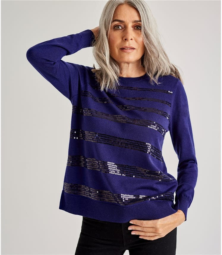 Womens Sequin Stripe Jumper