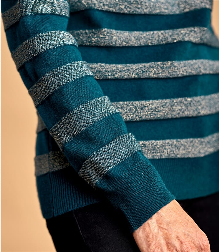 Womens Cashmere Merino Lurex Stripe Polo Neck Jumper