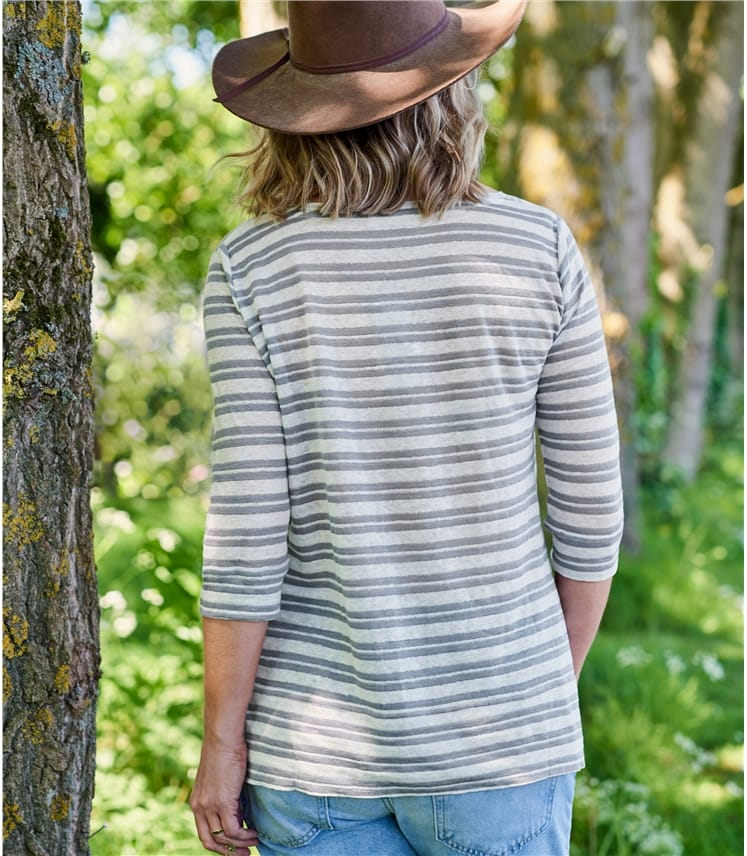 Womens Stripe Linen Top
