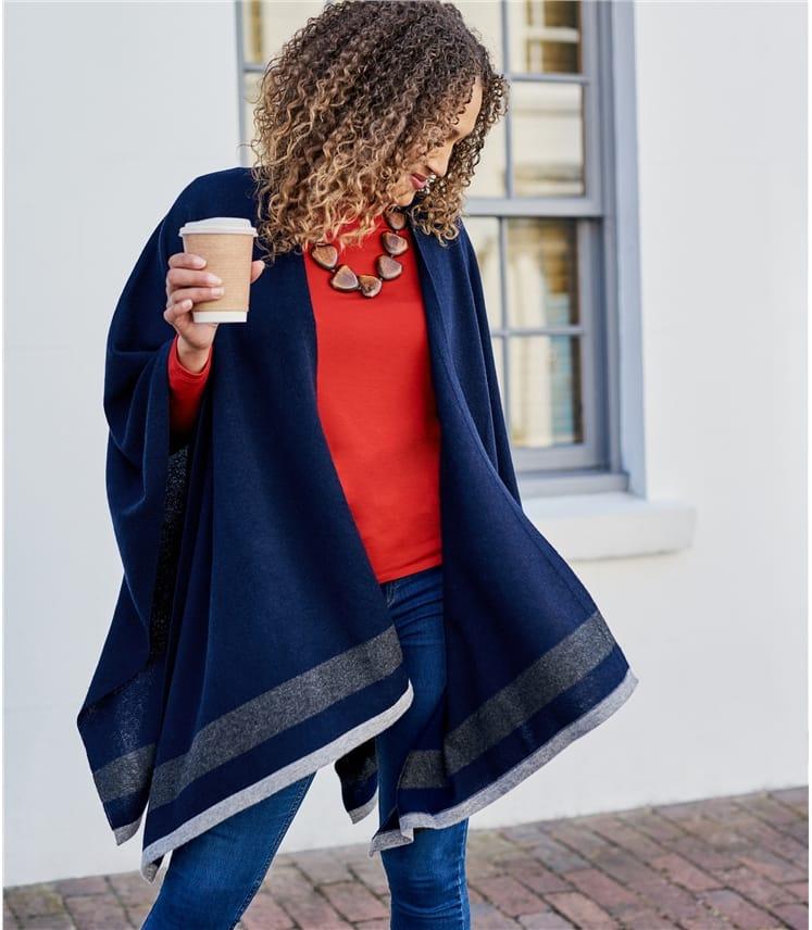 Womens Cashmere Merino Stripe Hem Blanket Wrap