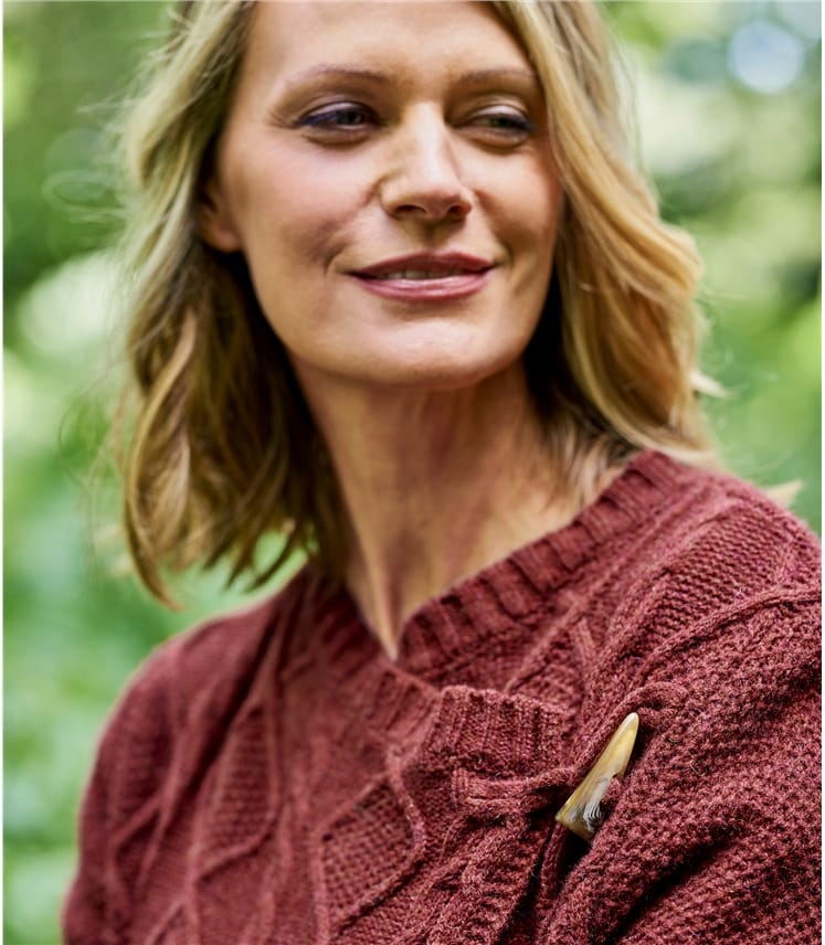 Womens 100% Lambswool Cable Wrap Cardigan