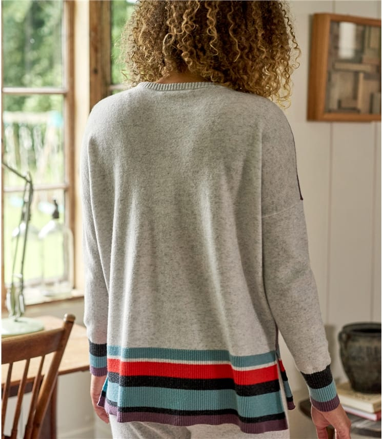 Womens Cashmere Merino Striped Hem Jumper