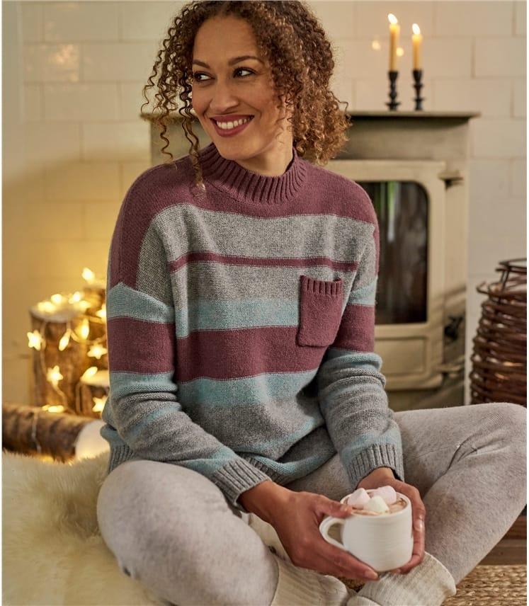 Gestreifter Pullover Trichterkragen und Taschen aus Lammwolle für Damen