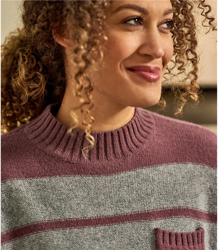 Womens 100% Lambswool Pocket Stripe High Crew Jumper