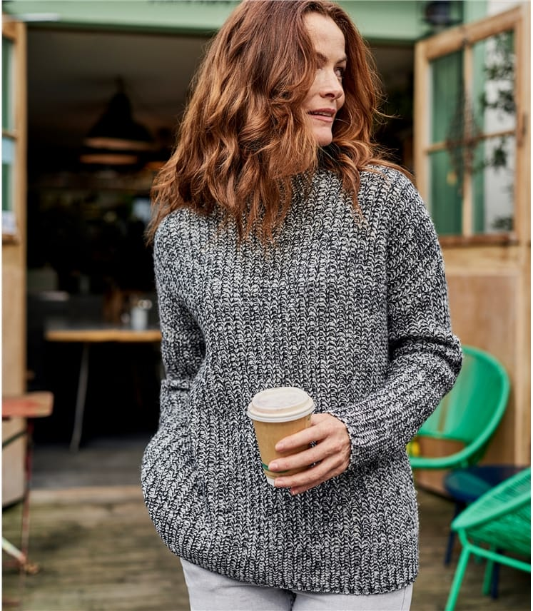 Womens 100% Lambswool Twist Funnel Neck Jumper