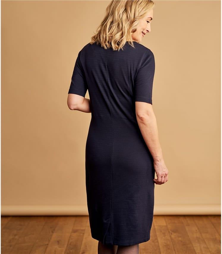 Womens Cotton Blend Jersey Sleeve Shift Dress