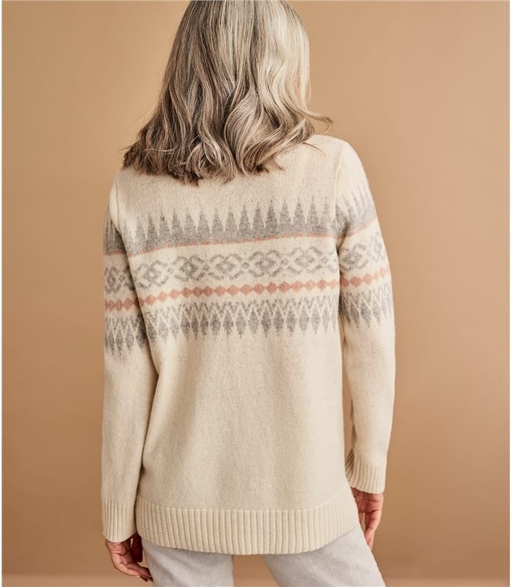 Womens Lambswool Fairisle Polo With Side Button Neck