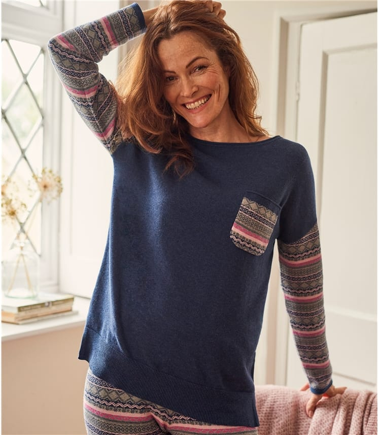 Womens Wool Blend Fairisle Pocket Lounge Top