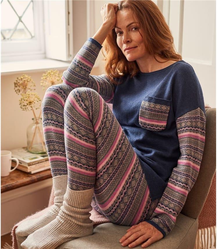 Womens Wool Blend Fairisle Lounge Leggings