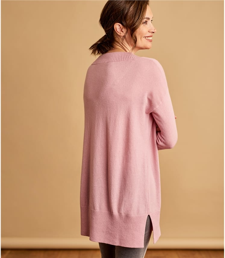 Womens Cashmere Merino Deep V Neck Tunic
