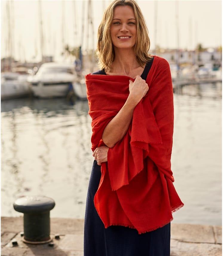 Womens Wool Silk Blend Animal Jacquard Scarf