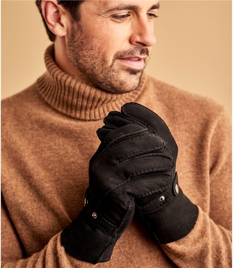 Mens Buckle Detail Sheepskin Glove